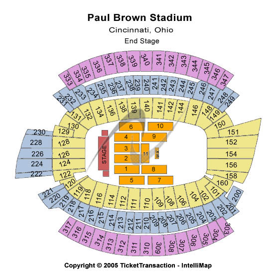 target field seating chart with seat numbers. Paul Brown Stadium Seating